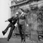 England's Jimmy Greaves does aerial battle with Norman Wisdom, 1966