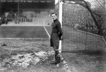 Tottenham goalkeeper Cyril Spiers waits to be called into action at England trials, 1931