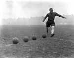 Tottenham's Welsh international Willie Evans practices his shooting, 1934