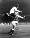 West Germany's Horst-Dieter Hottges gets a face full of Rodney Marsh's backside during the European Championship quarter-final, 1972