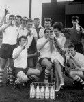 The Preston team (and 'Morecambe Milk Maid' Vivki Wood) celebrate with a glass of the white stuff after powering to the FA Cup Final by drinking 32 pints of milk between them every single day, 1964