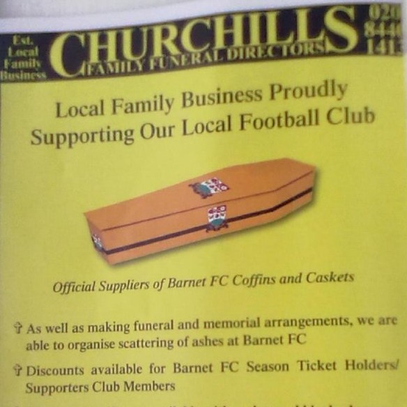 Strange Match Programme Adverts #1: Barnet FC Offer Fans Custom Made Coffins In Club Colours