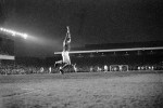 Arsenal 'keeper Bob Wilson jumps for joy as his side score a third goal in the 1970 Final against Anderlecht