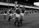 Arsenal captain Frank McLintock parades the Fairs Cup at Highbury before a league game against Man Utd, 1970