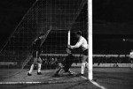 Chelsea's Peter Osgood kneels incredulously after being enied by a terrific save from Morton 'keeper Bobby Russell, 1969