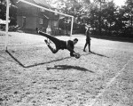 Roma 'keeper Fabio Cudicini (father of Carlo) limbers up before the first round tie against Chelsea, 1965