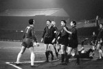 "Chelsea's Barry Bridges squares up to the entire AC Milan defence after flooring 'keeper Balzarini with a ""robust"" challenge, 1966"