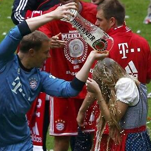 Manuel Neuer Celebrates Bayern Munich's Title Win By Pouring Massive Beer Stein Over Poor Unsuspecting Girl (Video)
