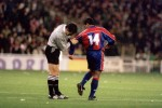 The referee checks Romario's studs - presumably for traces of witchcraft - during a Champions League match, 1995