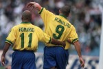 Ro-Ro: Two of the very best share a post-goal embrace at the 1997 Confederations Cup. The two strikers scored a hat-trick apiece in a 6-0 victory over Australia in the final