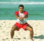 Training hard on Rio de Janeiro's Barra da Tijuca beach, 1996