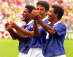 "Romario and Mazinho join new father Bebeto in the famous Brazilian ""cradle rocking"" celebration after the latter scored against Holland at USA '94"