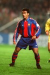 Barcelona striker Romario waits eagerly for a ball into feet, 1993