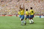 Romario celebrates his first goal of the '94 World Cup (against Cameroon) with Bebeto, Rai and Leonardo