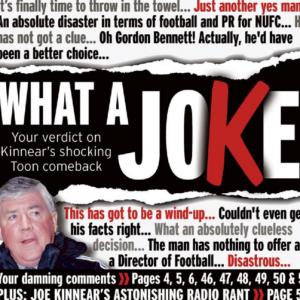 Newcastle Chronicle Newspaper Roll With Epic Kinnear-Bashing Front Page (Photo)
