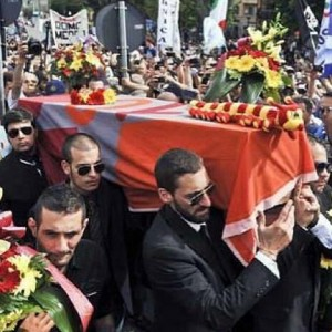 Lazio Fans Hold Mock Funeral Procession (Complete With Priest And Coffin) For Roma After Beating Them In Coppa Italia Final