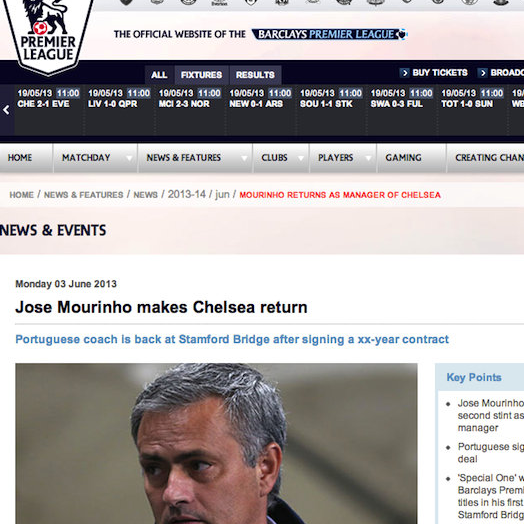 Premier League Website Jump The Gun, Prematurely Announce Jose Mourinho As Chelsea's New Manager