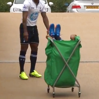 Sandro Acts The Giddy Goose At Tottenham Photoshoot, Gets Wheeled Around In Laundry Basket (Video)