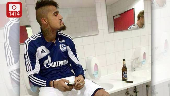 Kevin-Prince Boateng smoking a cigarette (or weed)