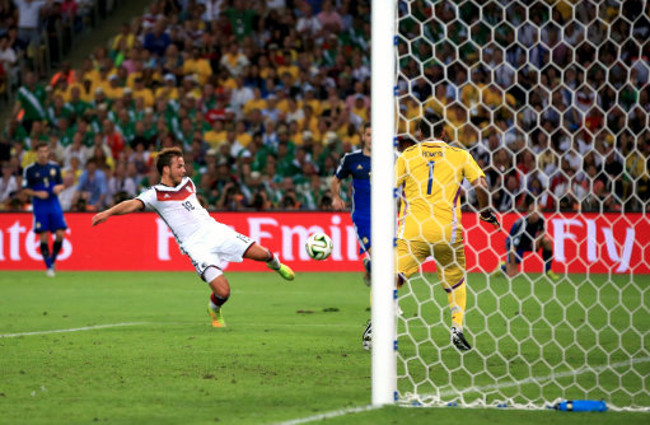 Germany's Mario Gotze scores his teams opening goal of the game