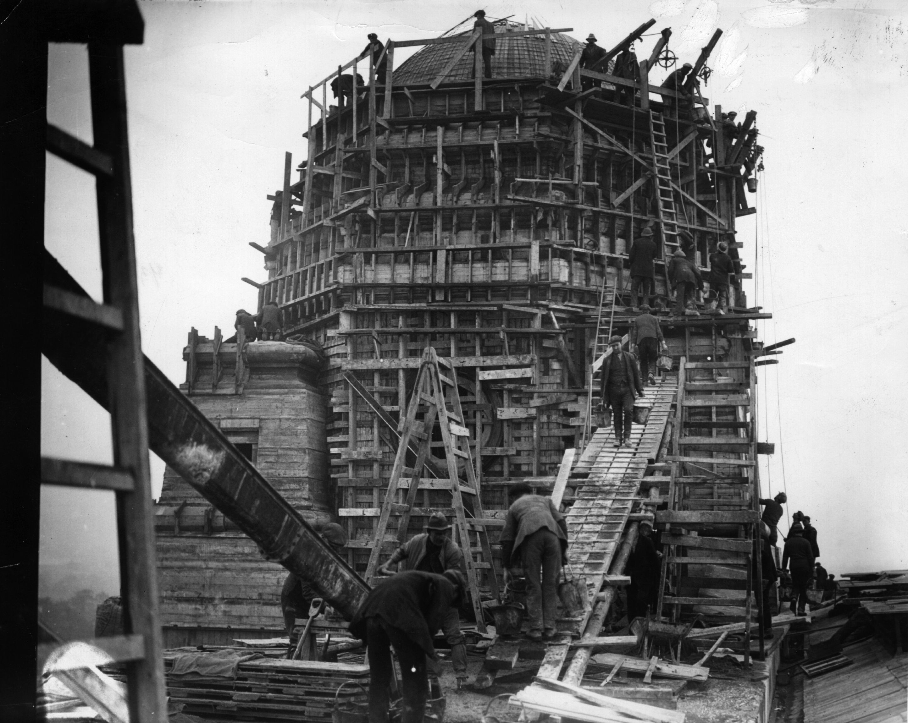 Heres A Wonderfully Atmospheric Shot Of Work Beginning On The One Original Stadiums Two Famous Towers January 1st 1923