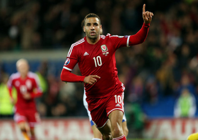 Wales' Hal Robson-Kanu celebrates scoring the second goal