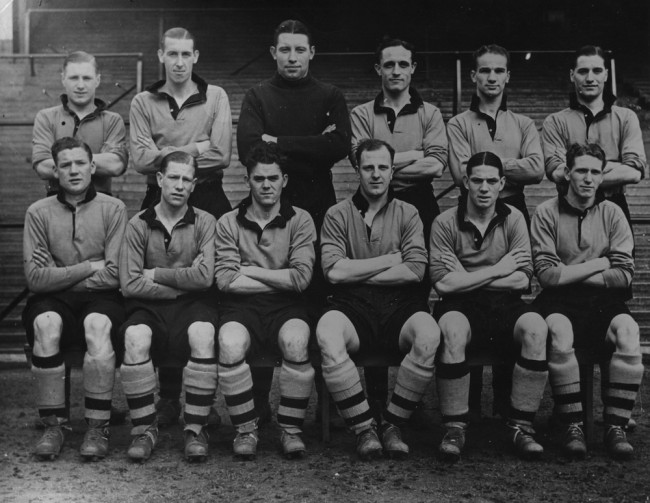 29th April 1939:  Wolverhampton Wanderers, set to meet Portsmouth in the FA Cup final at Wembley. Left to right (back): J Mullen, Galley, Scott, Morris, Taylor, Gardiner. Left to right (front): Burton, McIntosh, Stan Cullis (1915 - 2001), Dorsett and Maguire.  (Photo by Hulton Archive/Getty Images)