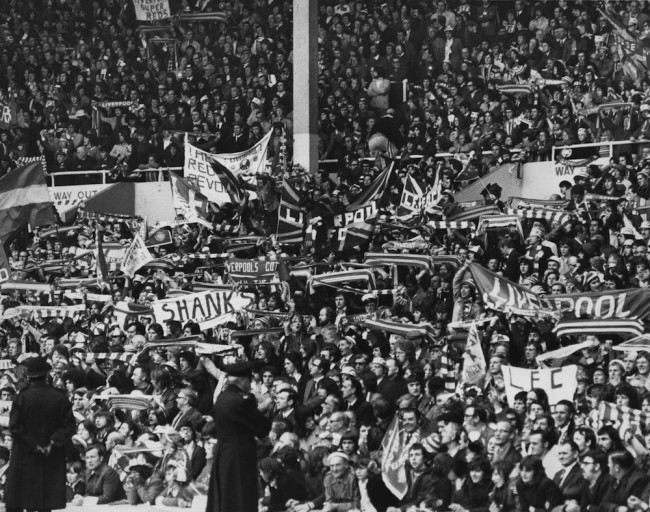 Liverpool fans at Wembley Stadium, London, for the F.A Cup final against Newcastle United, 4th May 1974. Liverpool won 3-0. (Photo by Central Press/Hulton Archive/Getty Images)