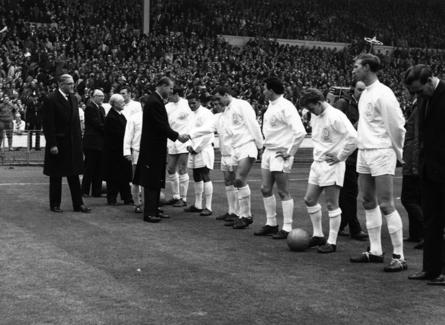 1st May 1965:  Prince Philip Duke of Edinburgh meeting the Leeds players before an FA Cup final against Liverpool at Wembley Stadium. Liverpool won 2-1.  (Photo by D. Newman/Fox Photos/Getty Images)