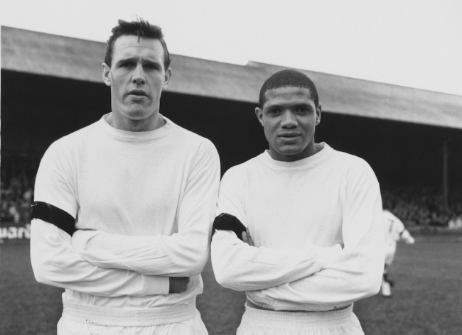 Leeds United footballers Ian Lawson (left) and Albert Johanneson (1940 - 1995), 26th November 1963. (Photo by Evening Standard/Hulton Archive/Getty Images)