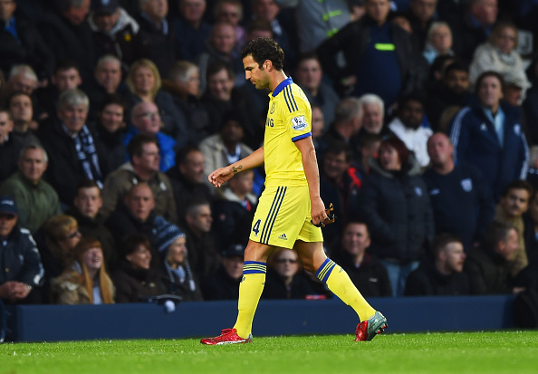 WEST BROMWICH, ENGLAND - MAY 18:  Cesc Fabregas of Chelsea leaves the pitch as he is sent off during the Barclays Premier League match between West Bromwich Albion and Chelsea at The Hawthorns on May 18, 2015 in West Bromwich, England.  (Photo by Shaun Botterill/Getty Images)