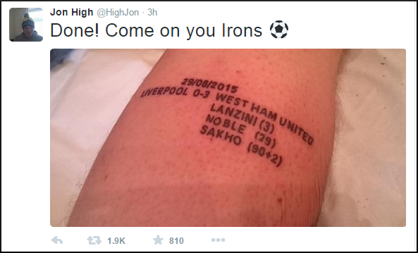 west ham fan gets tattoo to commemorate hammers 39 first league win at anfield in 52 years photos. Black Bedroom Furniture Sets. Home Design Ideas