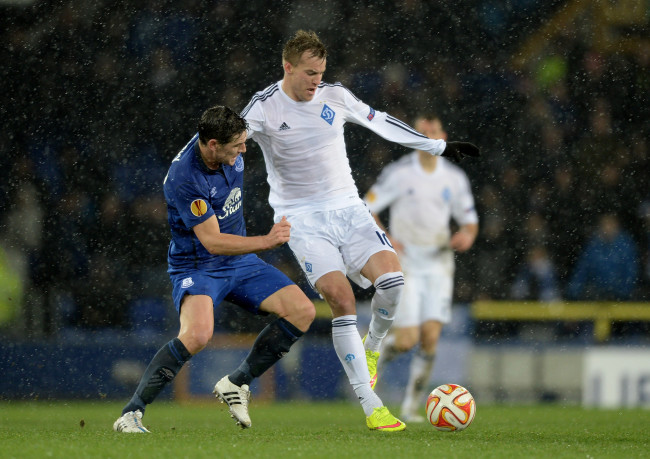 during the UEFA Europa League Round of 16, first leg match between Everton and FC Dynamo Kyiv at Goodison Park on March 12, 2015 in Liverpool, United Kingdom.