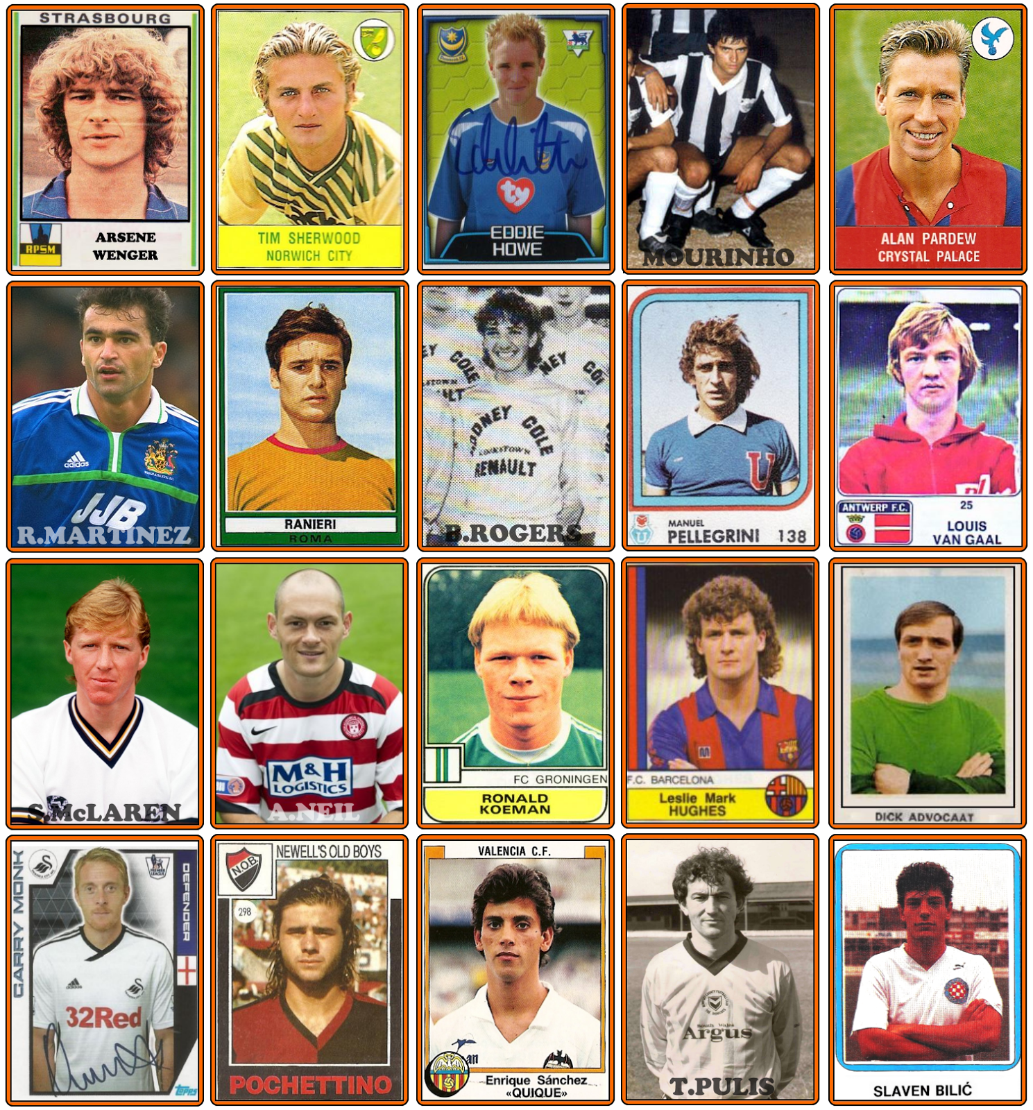 Retro Football Panini Stickers Of All 20 Premier League Managers In Their Playing Days Who Ate All The Pies