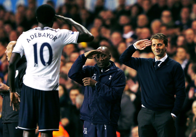 LONDON, ENGLAND - APRIL 07:  Emmanuel Adebayor of Tottenham Hotspur celebrates scoring his second goal with Tim Sherwood (R), manager of Tottenham Hotspur and Chris Ramsey during the Barclays Premier League match between Tottenham Hotspur and Sunderland at White Hart Lane on April 7, 2014 in London, England.  (Photo by Ian Walton/Getty Images)