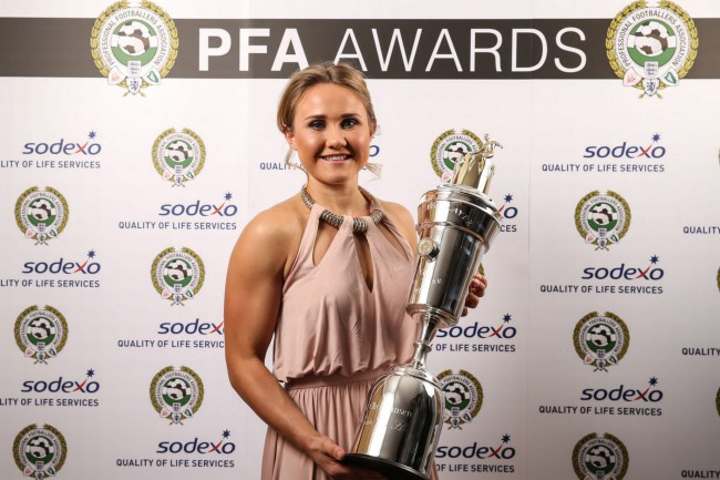 Manchester-Citys-Izzy-Christiansen-poses-after-winning-the-PFA-Womens-player-of-the-Year-award