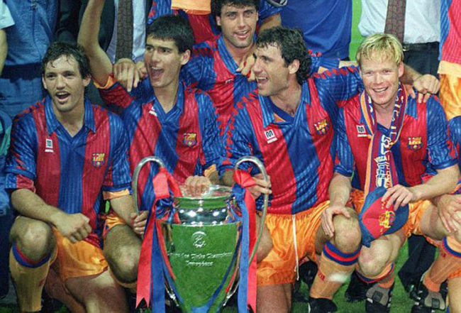 Barcelona Team group with the trophy. includes Juan Antonio Goicoechea,Jose Guardiola,Hirsto Stoitchkov and Ronald Koeman Barcelona v Sampdoria 20/5/92 European Cup Final 1992 Wembley Credit : Colorsport / Andrew Cowie