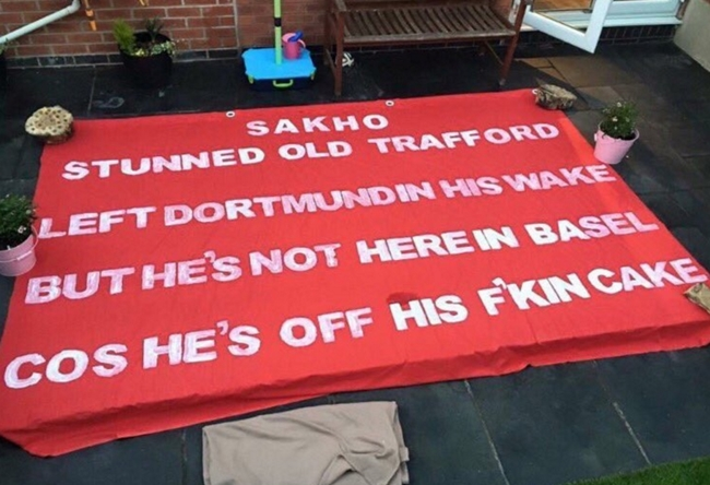 Fail liverpool fans inadvertently paint massive mamadou sakho banner