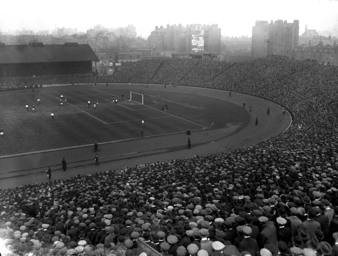 A general view of the huge crowd at Stamford Bridge for the England v Scotland Home International match. England won 1-0, with Harry Hampton the scorer.