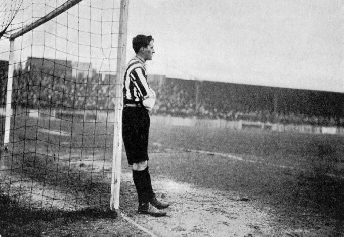 England goalkeeper Harry Linacre relaxes against a post during the match at the Crystal Palace