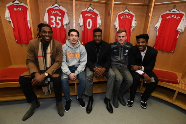 LONDON, ENGLAND - JANUARY 10: Kenneth Faried #35, Emmanual Mudiay #0 and Malik Beasley #25 of the Denver Nuggets pose with Rob Holding and Hector Bellerin of Arsenal Football Club as part of 2017 NBA London Global Games at Emirates Stadium on January 10, 2017 in London, England. NOTE TO USER: User expressly acknowledges and agrees that, by downloading and/or using this Photograph, user is consenting to the terms and conditions of the Getty Images License Agreement. Mandatory Copyright Notice: Copyright 2017 NBAE (Photo by Garrett Ellwood/NBAE via Getty Images)