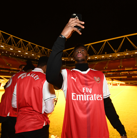 LONDON, ENGLAND - JANUARY 10: Emmanual Mudiay #0 of the Denver Nuggets poses for a photo in the stadium of Arsenal Football Club as part of 2017 NBA London Global Games at Emirates Stadium on January 10, 2017 in London, England. NOTE TO USER: User expressly acknowledges and agrees that, by downloading and/or using this Photograph, user is consenting to the terms and conditions of the Getty Images License Agreement. Mandatory Copyright Notice: Copyright 2017 NBAE (Photo by Garrett Ellwood/NBAE via Getty Images)