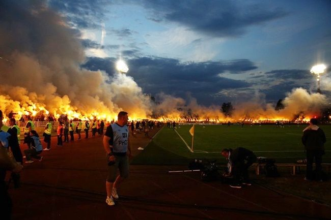partizan-belgrade-flares-fire