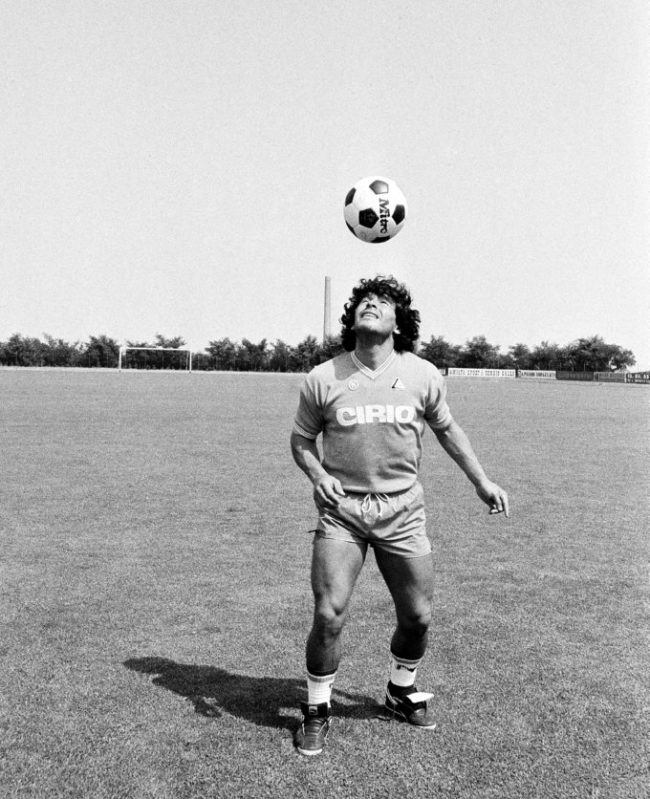 Argentine soccer superstar Diego Armando Maradona trains with his new team, Napoli of Naples, in Castel del Piano, mountain resort in central Italy, July 25, 1984. (AP Photo/Massimo Sambucetti)