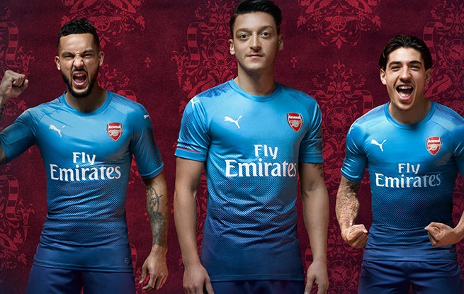 91cf746ae Kind Of Blue  Arsenal Officially Unveil Their Shiny New 2017 18 Away Kit  (Photos)