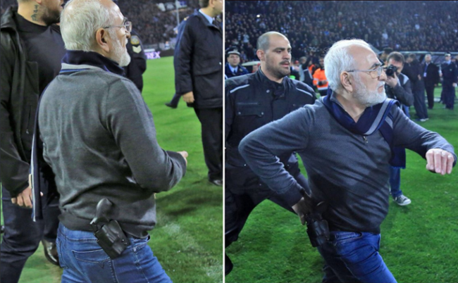 PAOK president invades pitch with a gun