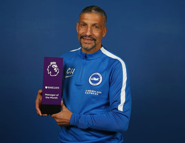 Brighton and Hove Albion boss Chris Hughton beats Klopp and Pochettino to Premier League prize