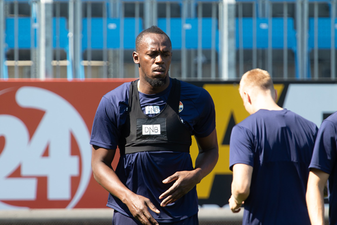 Sprinter Usain Bolt trains at Norwegian club Stromsgodset