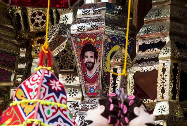 Salah's face adorns a Ramadan lantern on sale at a market in central Cairo