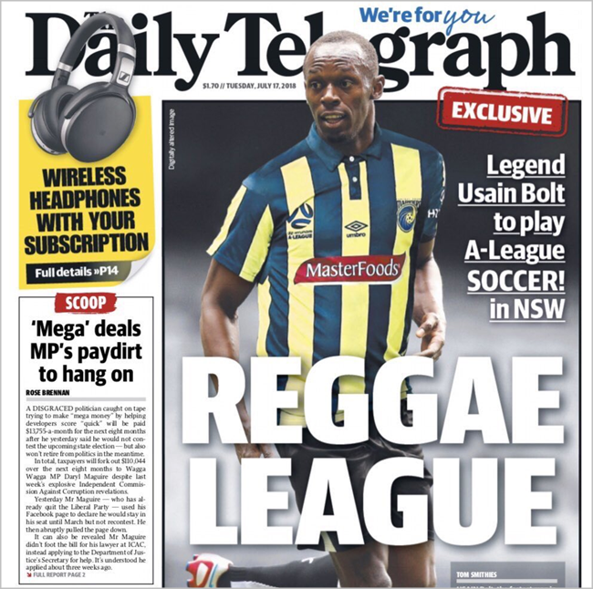 Usain Bolt agrees in principle to trial with Central Coast Mariners